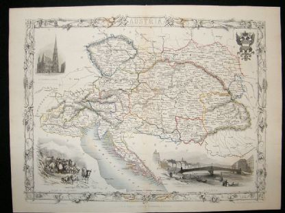 Austria: 1852 Antique Map. Decorative. Tallis Rapkin | Albion Prints